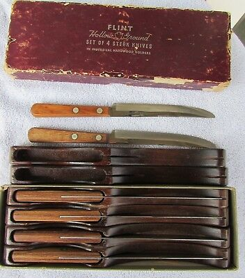 Lot Of 6 Vintage Flint Hollow Ground Steak Knives In Individual Holders With Box