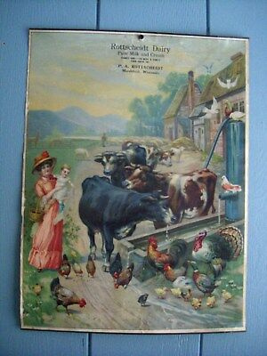vintage dairy farm advertising blotter Marshfield WI Rottscheidt Milk Cream