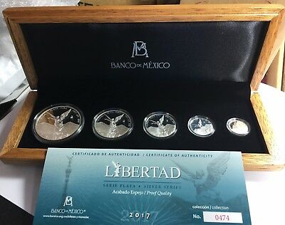 "2017 5 pc silver Libertad PF ""Treasure Coins of Mexico™"" Limited to 1,000 sets."