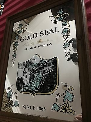 """GOLD SEAL FOURNIER SIGNATURE WINE Store Display 14"""" x 18"""" Sign Mirror New York"""