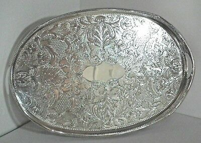 """Large Oval Silver Plate/Plated Pierced Rise & Fall Gallery Tray 18"""" x 12"""" EPNS"""