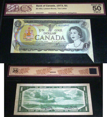 Folding & Cutting   Error Banknote ,$1 1973 Bank Of Canada