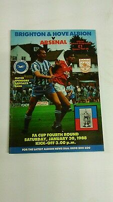 BRIGHTON v ARSENAL PROGRAMME FA CUP 4TH ROUND JANUARY 1988.