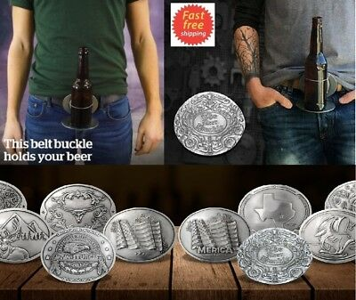 Best Romantic Gift Him Her The NEW Beer Belt Buckle Holds Bottle Can Hands Free