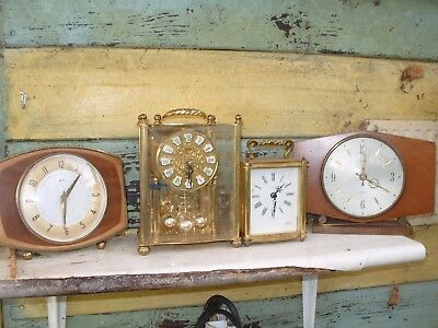 clock part   4  MIXED CLOCKS BATTERY  AND WIND UP   SPARES REPAIR