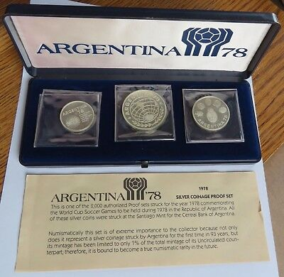 1978 Argentina Silver Coinage Proof Set, World Cup Soccer, .900 Fine (091734S)