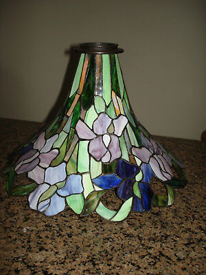 Vintage Tiffany style Stained Leaded slag Glass Floral  Lamp Shade