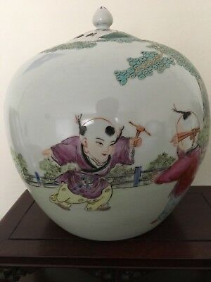 Chinese Porcelain Jar with Hand-painted Boys
