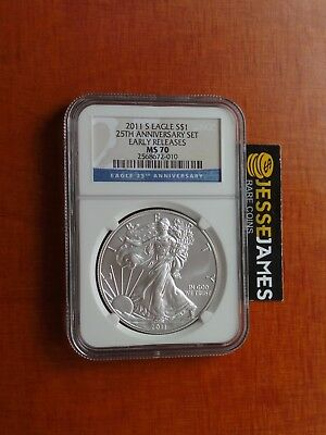 2011 S Silver Eagle Ngc Ms70 Early Releases From The 25Th Anniversary Set