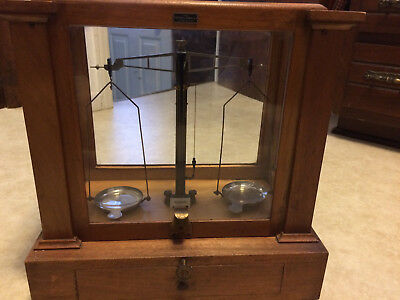 Arthur H. Thomas Co. Vintage Scale with Weight Set In Wooden Case Apothecary