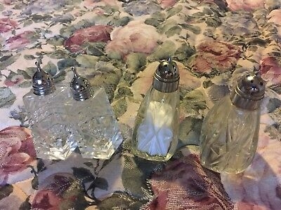 Vintage Lot Of Two Sets Of Cut Glass American Brilliant Salt And Pepper Shakers