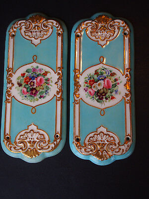 2 Antique 1874 English Registry Turquoise Floral Hand P. Finger Plate Push Door