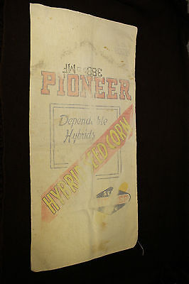 Vintage Pioneer Hybrid Seed Corn Sack Bag Half Bushel Farm Advertising