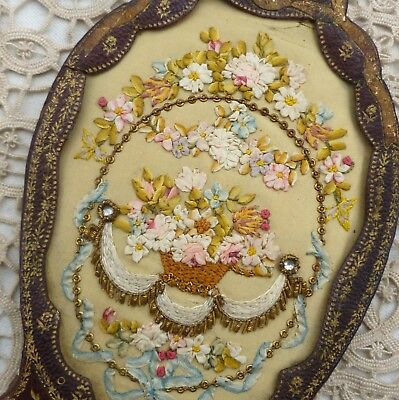 Antique French Silk Ombre Ribbon Embroidered Flower Basket Gold Metal Threads