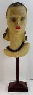 1920s ART DECO MANNEQUIN CHALKWARE HEAD WITH STAND, FRENCH MADE