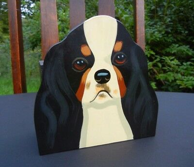 SIGNED c.1994 Hand-Painted King Charles SPANIEL Letter FILE BOX R. Richards WOOD