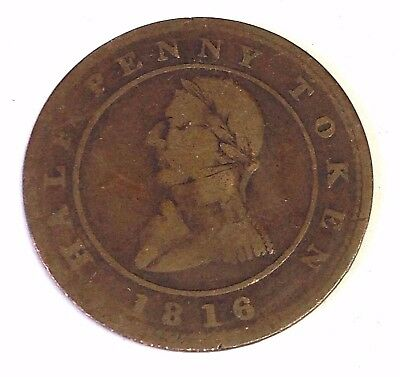 1816 Montreal Half Penny Token, Lower Canada, Pre-Confederation Ship Token