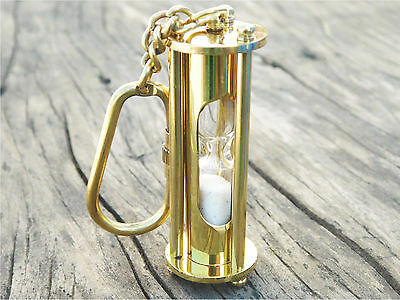 Brass Sand Timer Pendant Necklace Key Ring Maritime Nautical Chain Antique Gift