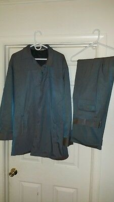 ROCKABILL Vtg MALTOS Men Leisure Suit Gray w red tint 2pc retro