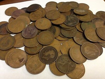 100 x Vintage British Large One Penny, UK copper Pennies Victoria to QEII lot#61