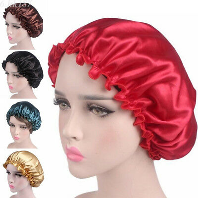 Silk Night Sleep Cap Hair Bonnet Hat Head Cover Satin Wide Adjust Elastic Band