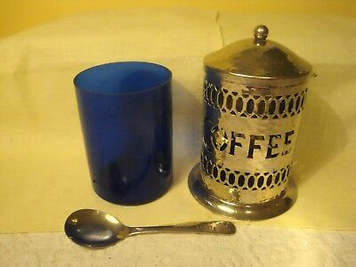 Vtg Hammered Silver Plated Coffee Canister W/Blue Insert W/Sheffield England
