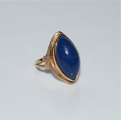 Vintage 14 Kt Gold and Lapis Ring Size ~7.75