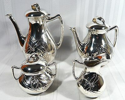 F.W.Quist ART NOUVEAU Dragonfly Butterfly & Lily Silverplate Tea & Coffee Set