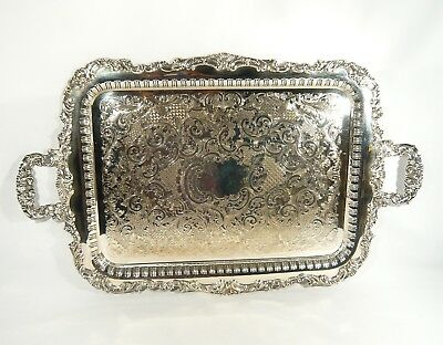 "25"" SILVER Plate Pierced TRAY Old English Reproduction Vintage Engraved NO MONO"