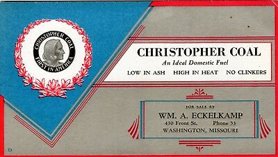 Antique Ink Blotter Ad Christopher Coal Mine Company Washington Mo Missouri