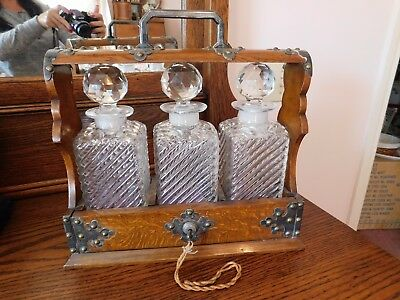 Victorian Locking Oak Tantalus with Glass decanters
