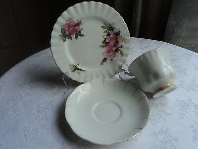 Royal Albert mixed trio, Cup, Saucer and side plate - White, gold & Pink
