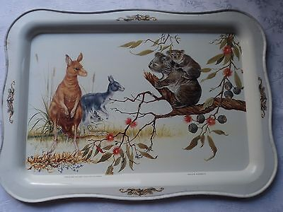 Willow Tray - Kangaroos and koalas, signed Robin Hill
