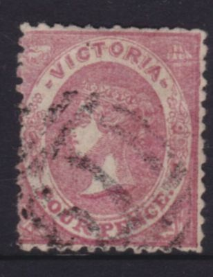 VICTORIA SCARCE 1859 4d Dull Rose EMBLEM, PERFORTATED, FINE USED SG83  (DL36.6)