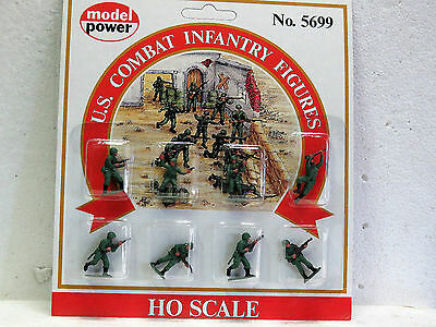 MODEL POWER #5699 HO Scale U.S COMBAT INFANTRY FIGURES 8pc PAINTED New in pack