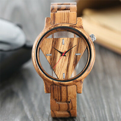 Unique Mens Hollow Triangle Dial Analog Bamboo Wood Watch Women Creative Gifts