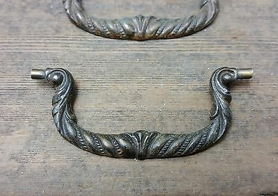 """ONE Vtg Old Antique Fancy Keeler BRASS Replacement BAIL Pull Handle for 3"""" holes"""