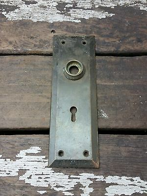 VTG Antique Rustic BRASS Shabby Plain Keyhole Door Knob Backplate Cover Plate