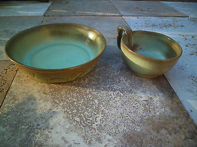 FRANKOMA POTTERY PRAIRIE GREEN cattlebrand dish, Soup Bowl Large Mug 45C set