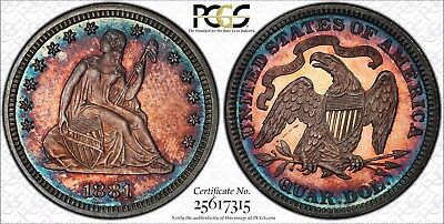1881 Proof Seated Liberty Quarter PCGS PR64 Coinfacts PLATECOIN - Rainbow Toned