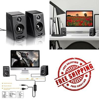 USB Multimedia Computer PC Desktop Laptop Speakers Wired Powerful Bass Subwoofer