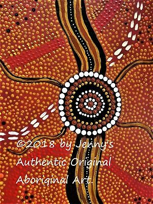 """Authentic Aboriginal Oil On Canvas Print """"desert Walkabout"""" Limited Edition"""