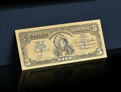 """<TOUCHABLE COLORIZED>1899 """"GOLD"""" SILVER CERTIFICATE INDIAN CHEIF Rep.* Banknote!"""