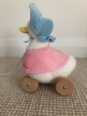 Jemima Puddleduck Pull Along Soft Toy With Wooden Wheels As New