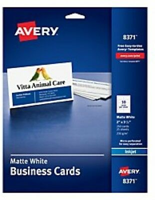 Avery Business Cards for Inkjet Printers, Matte, White, Pack of 25 (10 2 x 3