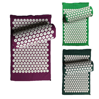EP_ Acupressure Massage Mat & Pillow Yoga/Acupuncture Relax Stress Pain Relief G
