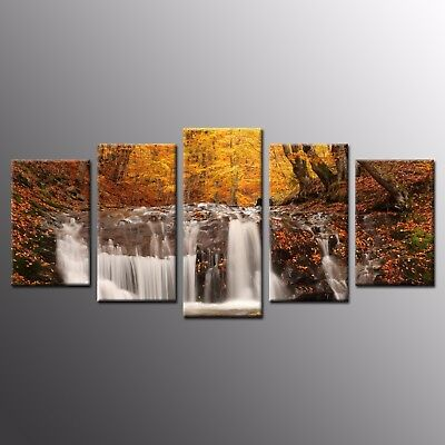5 Pieces Canvas Print Autumn Waterfall Canvas Painting Wall Art Home Decor