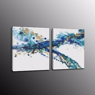 Modern Canvas Art Wall Print Abstract Blue Ink Painting for Home Decor 2pcs
