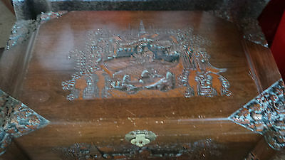 Antique Large Oriental carved camphor chest - unusual carvings