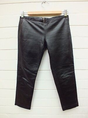 Vintage Low Rise Black Skinny Crop Leather Pants - Xxs Xs Tiny Fit